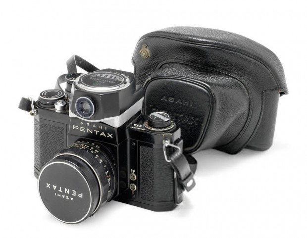 Asahi Pentax with clip-on light meter and carrying case