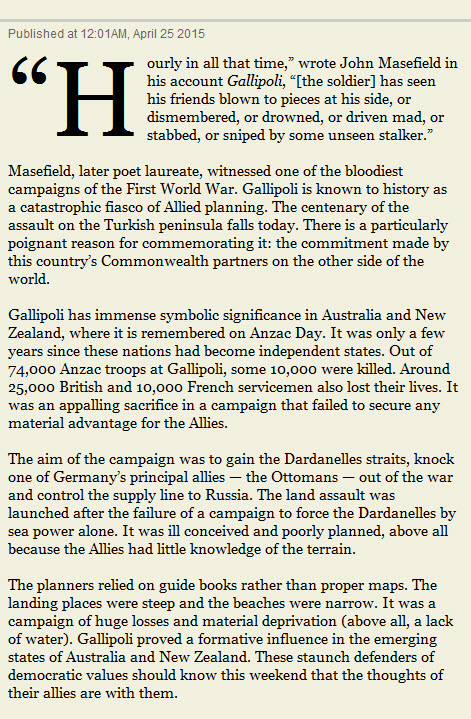 Times Editorial - Anzac 100 years